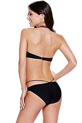 Kaamastra Women's Cage Halter Bikini Swimwear(KA_LC41279-2,Black,Free Size)