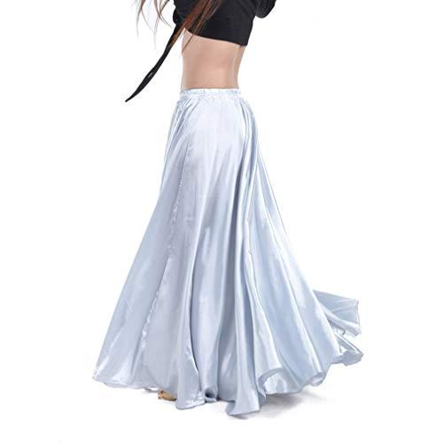 Hibote Satin Shining Bauchtanz Rock für Frau Big Swing Gypsy spanischen Flamenco-Tanzanzug Kostüme Stage Wear Performance Clothing