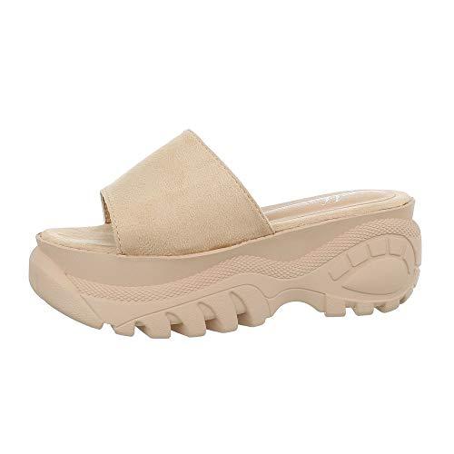 Ital-Design Damenschuhe Sandalen & Sandaletten Pantoletten Synthetik Beige Gr. 36