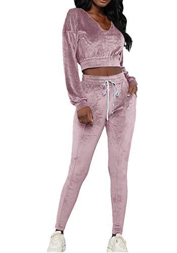 wenyujh Damen Bekleidungsset Sport Freizeit Pullover Hose Set Frühling 2 Teilig Samt Bauchweg Jacke Freizeithose Einfarbig (S, Violett)