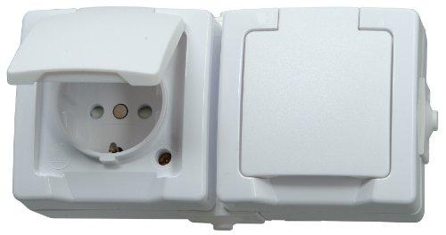e für Feuchtraum, Aufputz, 250V (16A), 2-fach Schutzkontakt-Steckdose mit Deckel & erhöhtem Berührungsschutz, waagerechte Anordnung, arktis-weiß, 137002003 ()
