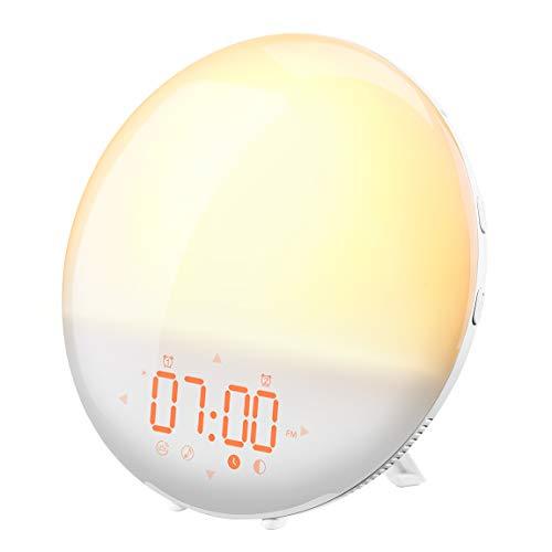 Lichtwecker, Mpow LED Wake-up Licht Wecker Wake-up light, Digitaler Wecker, Sonnenaufgangssimulation, 6 natürliche Töne, 20 Helligkeit, FM Radio, Schlummerfunktion, Tageslichtwecker, Touch Nachtlicht.