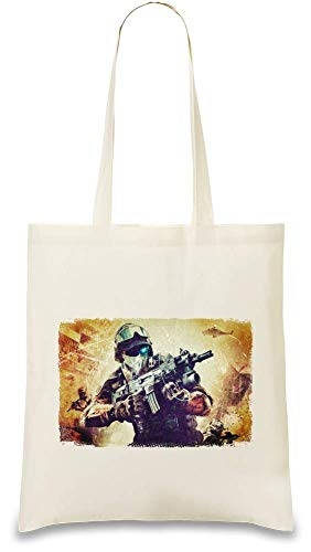Preisvergleich Produktbild Tom Clancy's Ghost Recon Zukunftssoldat Assault - Tom Clancy's Ghost Recon Future Soldier Assault Custom Printed Tote Bag| 100% Soft Cotton| Natural Color & Eco-Friendly| Unique, Re-Usable & Stylish