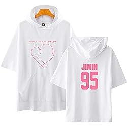 Flyself Unisex KPOP BTS T-Shirt con Capucha BTS Bangtan Boys Map de The Soul Persona Estampado Hoodie Top Sudaderas de Sport Manga Corta Blusa Casual Tops Camiseta con Capucha