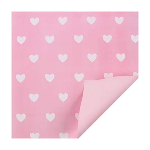 Toyvian 10pcs Flower Wrapping Paper White Hearts Pattern Bouquet Gift Wrap for Wedding Birthday - Pink Background