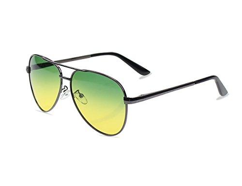 Day Night Vision Sunglasses Glasses All-around Driving Eyewear Anti-glare Polarized Lens,Gun Gray Frame