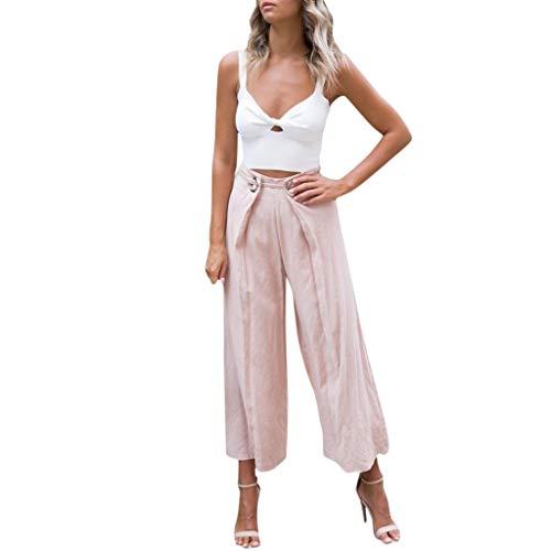 Lazzboy Mädchen Vintage zerrissene Damen hoch taillierte Hose Denim Shorts Hot Pants Damen Haremshose Elegant Pumphose Lange Leinen mit Gürtel Aladin ()