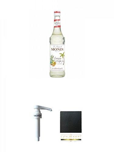Monin Curacao Triple Sec Sirup 0,7 Liter + Monin Dosier Pumpe für 0,7 & 1,0 Literflasche + Schiefer Glasuntersetzer eckig ca. 9,5 cm - Triple Sec Sirup