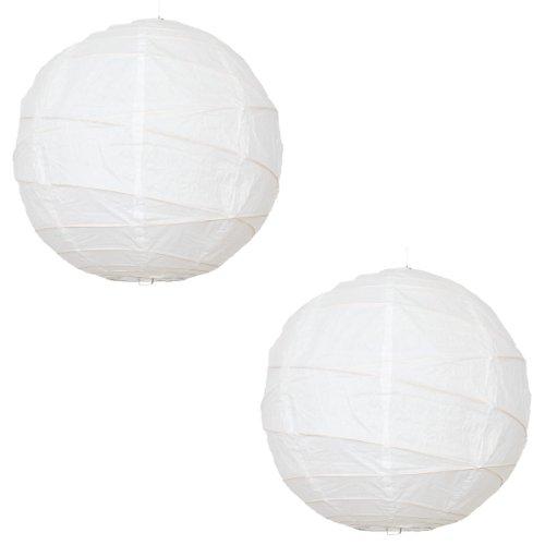 Paper lanterns UK Lot de 2 lanternes rondes en papier avec structure en bambou Blanc Ø 30,48 cm