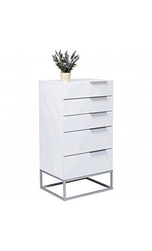 Kare design - Chiffonnier design laqué blanc 5 tiroirs Cloud