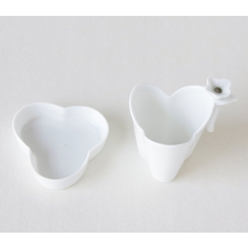 Porcelaine Blanche Infusion Tisane Thé Set Infuseur + Soucoupe Collection TREFLE
