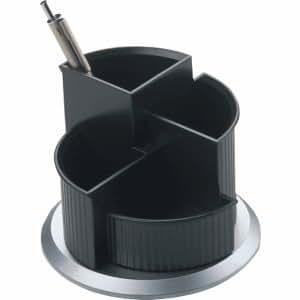 Helit pot à crayons pivotant série silver-noir/argent
