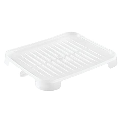 InterDesign Adjustable Dish Drain Board with Swivel Spout for Kitchen Countertop, Plastic, Frost,