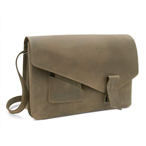 Made in Germany Vintage Laptoptasche - Messenger Bag - Aktentasche Lyon aus braunem Echtleder inkl. Bio-Lederpflege von THIELEMANN