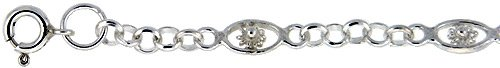 Revoni Sterling Silver Anklet w/ Flowers