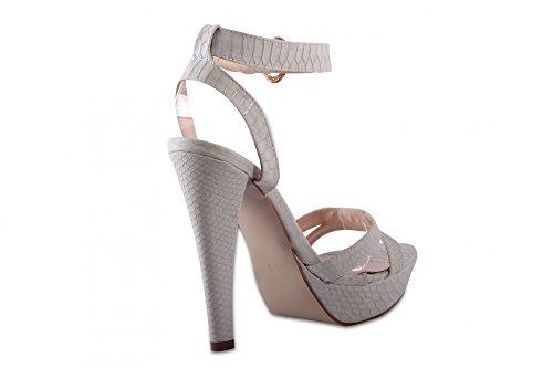 Chaussures modernes sandales mules escarpins high heels plateau en look schlangenkunstleder bride cheville Beige - Beige