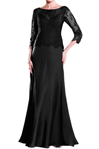 Gorgeous Bride Modern Lang Aermel Chiffon Spitze Etui Brautmutterkleid Abendkleid Ballkleid Schwarz