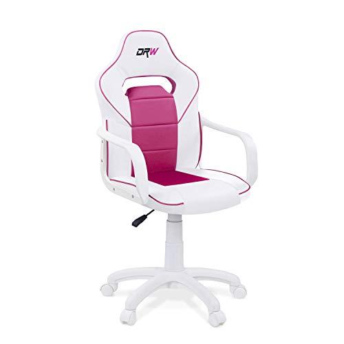 Adec - DRW, Silla de escritorio estudio o despacho, sillón gaming acabado en color Blanco y...