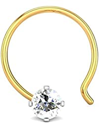 Candere By Kalyan Jewellers 18K (750) Yellow Gold and Diamond Nose Pin