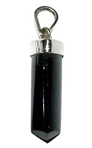 Turmalin schwarz Schörl polierte Spitze als Anhänger mit einer 925er Silber Kappe und Öse ca. 18 - 22 mm Länge.(2948)