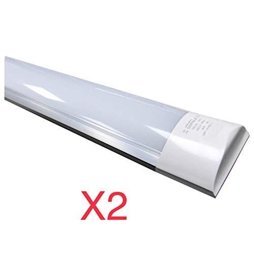 Led Atomant Pack 2X Pantalla Carcasa Tubo Integrado, 40 W, Color Blanco Neutro 4500K, 120 cm. Equivalente a 2 Tubos Fluorescentes de 36w, 3300 lumenes Reales Regleta Led Slim T8, 36