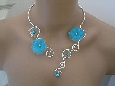 """Collier Femme Original Bleu Turquoise/""""Argent""""/Argenté/Alu/Aluminium/Ivoire/Blanc/Crème/Ecru/Beige Clair p robe de Mariée/Mariage/Soirée Coktail fleur perle (pas cher, petit prix)"""