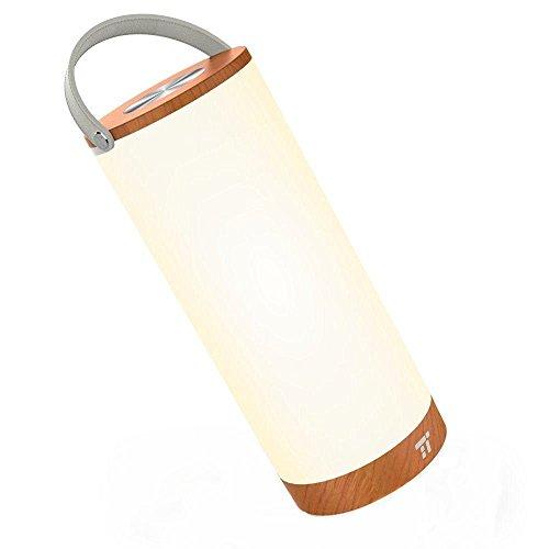 Tischlampe Led Vintage TaoTronics Warmweiß 3000K Tragbar Nachttischlampe Touch Holz Batteriebetrieben Atmosphäre Stimmungslicht, 360 Grad Beleuchtung, berührungsempfindliche stufenlose Dimmung, Merkfunktion, Ein-Griff-Design mit 4000mAh Wiederaufladbarem Akku