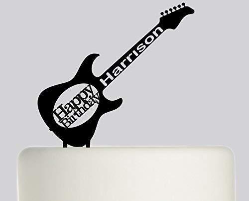 Decoración para tarta de acrílico con diseño de guitarra cheyan personalizable con tu nombre, color negro