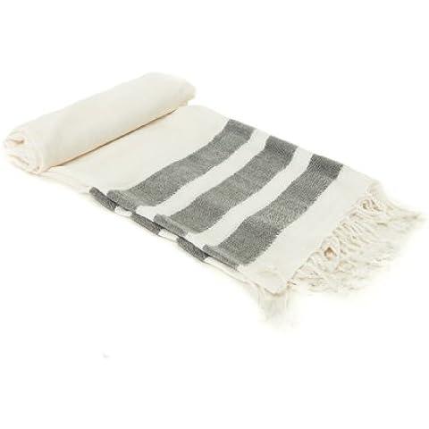 Lussuoso asciugamano da bagno utilizzabile come fouta, pastemal, sarong, stola, copriletto hammam in cotone e seta organici grigio