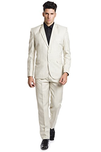 Wintage Herren Leinen Wolle Blend Zwei Knopf Kerbe Revers 2-Stück Anzug: M (Stück Leinen-anzug 2)