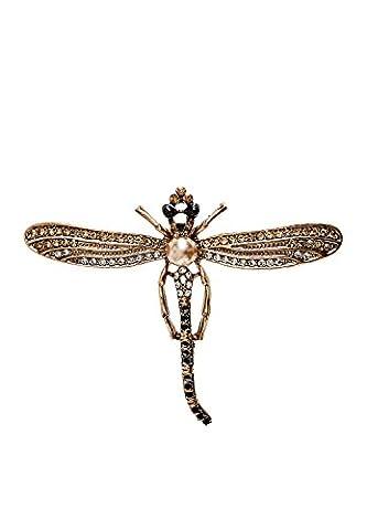 HALLHUBER Rhinestone embellished dragonfly brooch one size, rose gold