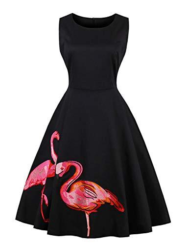 Caissen Damen 1950er Rundhals Retro Flamingo Vintage Rockabilly Swing Midi Kleid Party Cocktailkleid Schwarz Größe 3XL