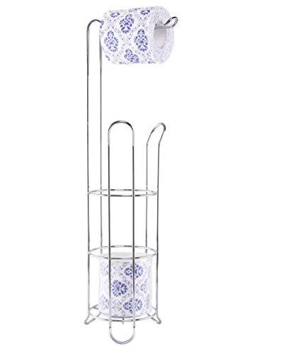 EXZACT Soporte de papel higiénico - Dispensador de rollo Loo con marco de alambre de pie, Almacenamiento de rollo de acero inoxidable 3/4
