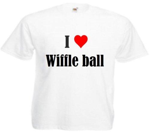 T-Shirt I Love Wiffle Ball Größe 3XL Farbe Weiss Druck Schwarz