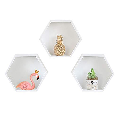 Baffect Satz von 3 weißen Sechseck Floating Box Regal Home Deco, Sechseck Regal Floating Cube Regale Bücherregal Lagerung Display Sechseckige Holzregale für Raumdekorationen (weiß) -