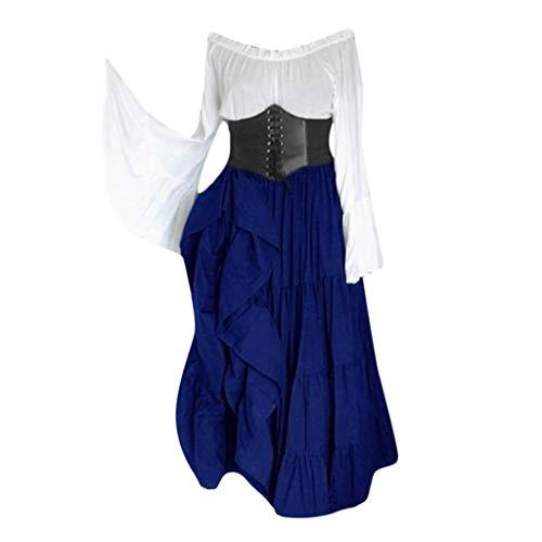 Frauen Mittelalter Retro Schulterfreies Langes Kleid mit Unregelmäßiger Saum, Court Kostüm mit Verband Gürtel Aufflackern Hülsen Leistungskostüm Party Kleid Renaissance Cosplay ()
