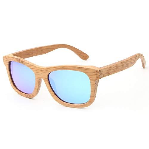 Easy Go Shopping Polarisierte Klassische Mode Holz männer und Frauen Brille Unisex Vintage Bambus Holz Sonnenbrille Sonnenbrillen und Flacher Spiegel (Color : Blau, Size : Kostenlos)