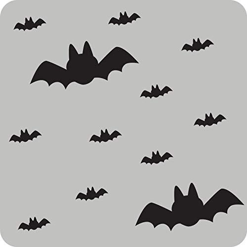 Kleb-Drauf - 12 Fledermäuse - Aufkleber zur Dekoration von Autos, Motorrädern, Fahrrädern und allen anderen Fahrzeugen; aus 18 Farben wählbar; Grau