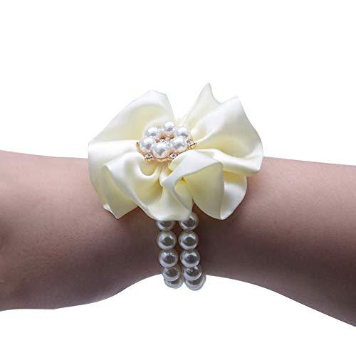 rt Kreative Hochzeits-Requisiten Koreanische Braut Und Bräutigam Simulation Blumenbraut Brautjungfer Groomsmen Handgelenk-Milchweiß ()
