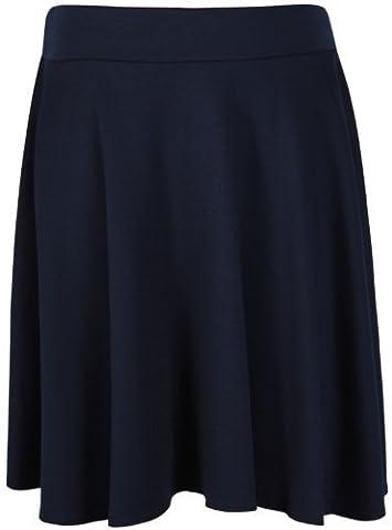 Womens Plain Soft Stretch Ladies Elasticated Waistband Knee Length Full