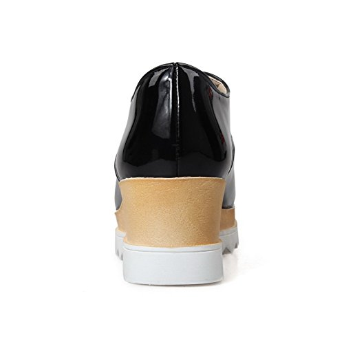AgooLar Femme Lacet Pu Cuir Carré à Talon Correct Couleur Unie Chaussures Légeres Noir