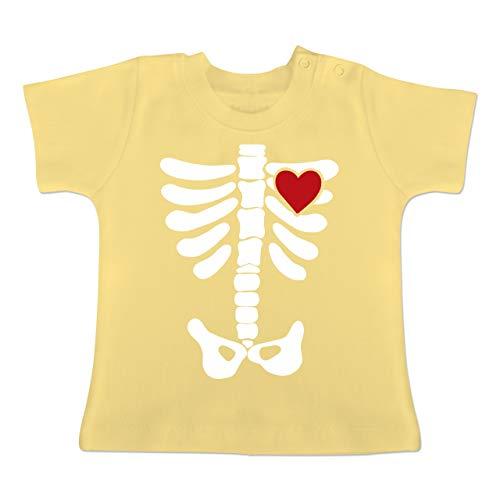 (Anlässe Baby - Skelett Herz Halloween Kostüm - 6-12 Monate - Hellgelb - BZ02 - Baby T-Shirt Kurzarm)