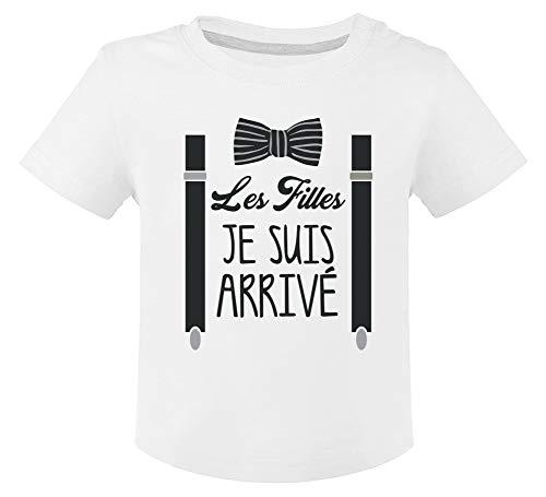 Les Filles Je suis arrivé Noeud Pape et Bretelles Fancy T-Shirt Bébé Unisex 12M Blanc