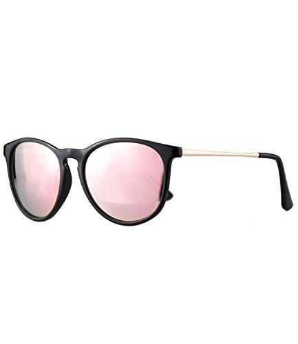 rille Damen Herren Hornbrille Vintage Brille verspiegelt + getönt - 139 (schwarz - rosa verspiegelt) ()
