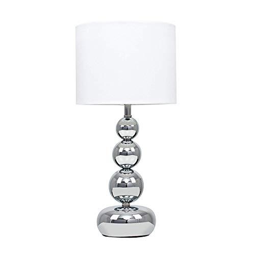Minisun - Lámpara de Mesa Táctil Moderna Cromada - Base de Esferas Apiladas con Pantalla Blanca ...