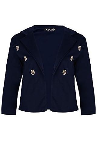 Womens Waterfall 3/4 Sleeve Cardigan Ladies Open Front Gold Button Crop Blazer