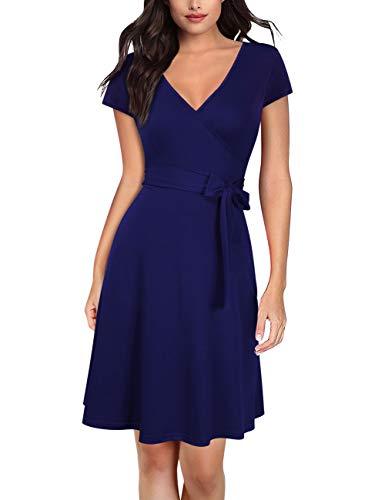 3/4-kleid (KOJOOIN Damen Kleid Business Kleid Knielang Wickelkleid, 3/4 Arm mit V-Ausschnitt und Gürtel)