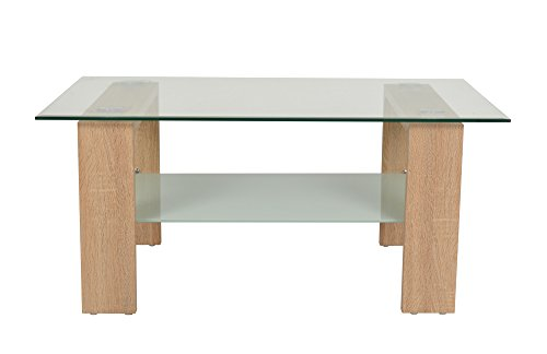 ts-ideen Design Table d'appoint Table Basse Salon Table en Verre 100 x 60 cm Verre Bois