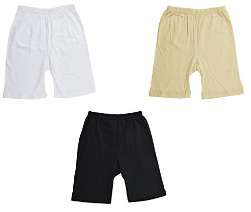 fasla Pure Cotton Cycling Shorts for Girls & Kids(Pack of 3 Black White and Beige) Year 2 to 3