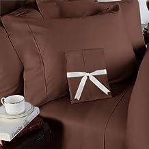 53,3cm extra Deep Pocket–1500fili 4pezzo di cotone egiziano set, 1500TC, California King, solid Chocolate